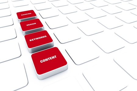 3D Red Pads - Keywords Design Content rank 4 Stock Photo - 14688790