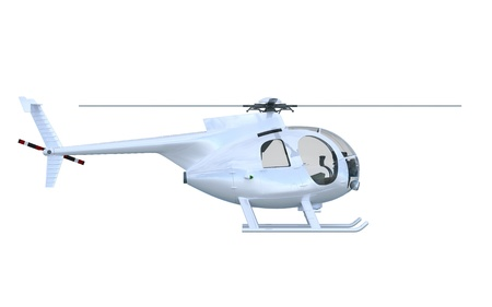 Silver Helicopter Side view - isolated 2