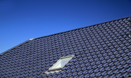 skylights: The blue roof with window Stock Photo