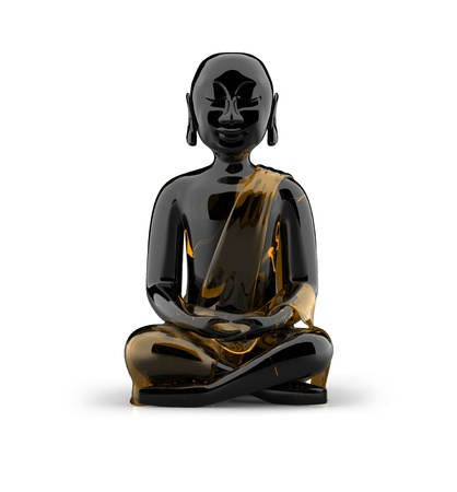 3d temple: Buddha statue made of glass - Black gold