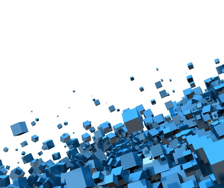 3D - Background - Flying Blue Cube 02