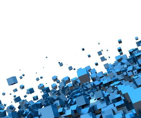 3D - Hintergrund - Flying Blue Cube 02