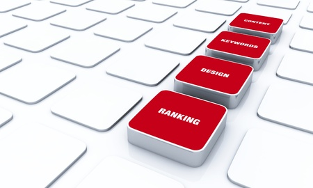 3D Red Pads - Design Content Keywords Ranking Stock Photo - 14768958