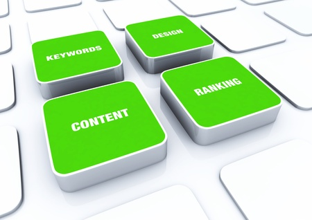 3D Green Designs - Design Content keywords ranking Stock Photo - 14768979