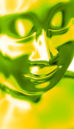 Abstract Yellow Buddha head green photo