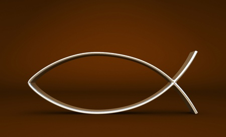 pez cristiano: 3D ICHTHYS de plata en color marrón 01