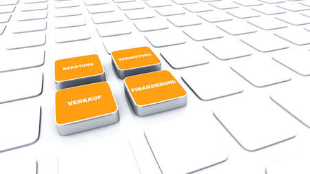 advisory: 3D Orange Pads - Rental Sales Financing Advisory  Stock Photo