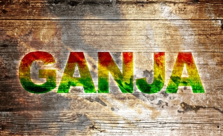 rasta: Wooden board with text - Ganja Stock Photo