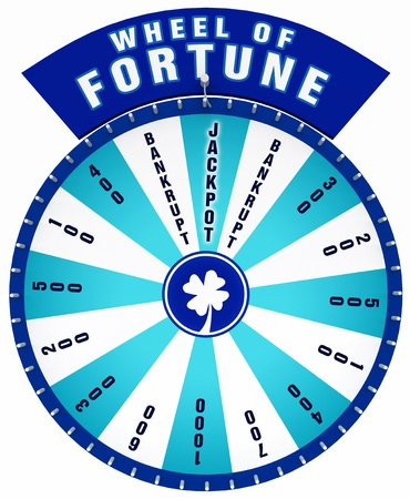 wheel of fortune: 3D Wheel of Fortune - Isolated blue Stock Photo