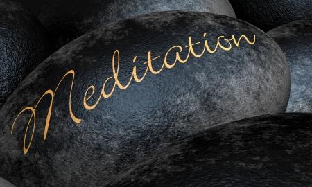 concept magical universe: Piedras negras con el texto - Meditaci�n
