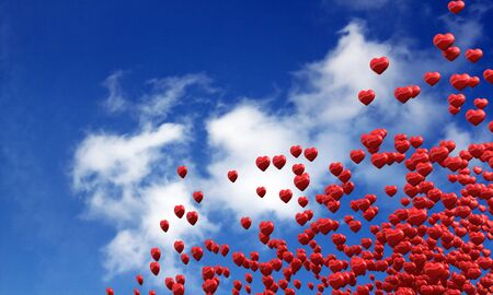 Flying red heart in the summer Stock Photo - 14839689