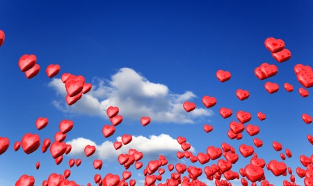 Flying red hearts in spring Stock Photo - 14839682