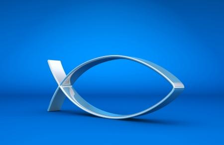 pez cristiano: 3D Ichthys plata sobre azul 01