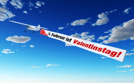 Plane with Banner - 14 February is Valentine s Day photo