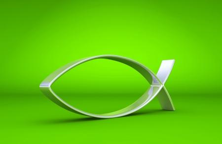 pez cristiano: 3D Ichthys de plata en verde 01