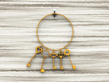 marbles close up: Gold key ring