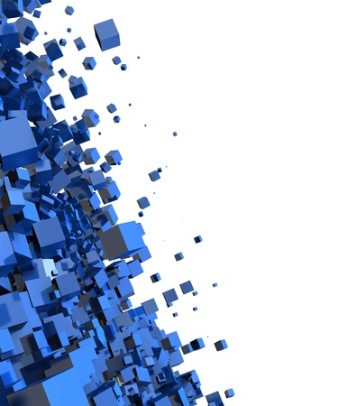 3D - Hintergrund - Flying Blue Cube 07 Standard-Bild