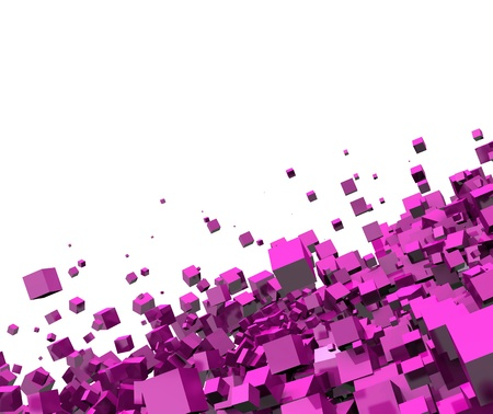 cuboid: 3D - Background - Flying pink cube 08 Stock Photo