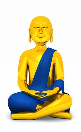 The Happy Buddha - Gold Blue 02 Stock Photo - 14912990