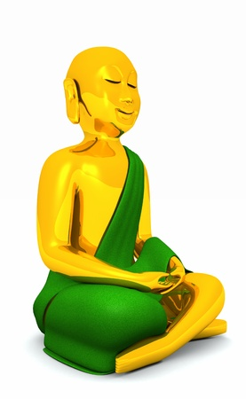 The Happy Buddha - gold green 01 Stock Photo - 14913063