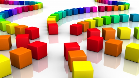 cuboid: Colorful 3D Cube spiral 01 Stock Photo