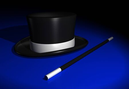top black hat: Wand with magic hat on a blue ground