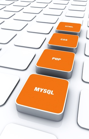3D Orange Pads - HTML CSS PHP MYSQL 9 Stock Photo - 14913058