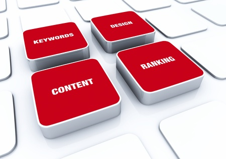 customercare: 3D Red Pads - Design Content Keywords ranking  Stock Photo