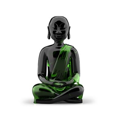3d aum: Buddha statue made of glass - Black Green Stock Photo