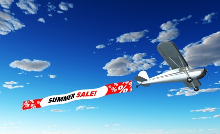 sales book: Airplane Banner - Summer Sale Stock Photo