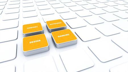 Orange 3D Designs - Design Content Keywords ranking 6 Stock Photo - 14913429