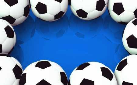 painted the cover illustration: Background - Footballs on blue Stock Photo