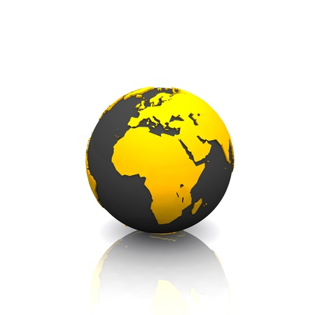 sustained: 3D - Black gold globe Stock Photo