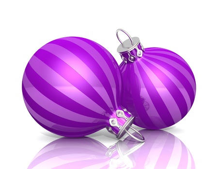 Christmas balls - 2x purple striped 01