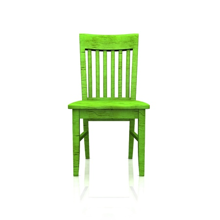 wooden stool: The green wooden chair - isolated Stock Photo