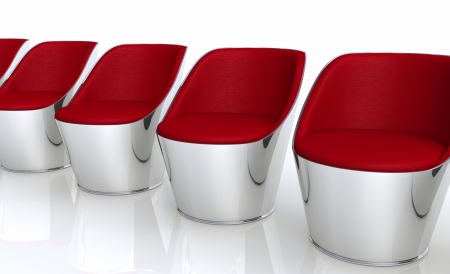chill out: Club Chairs in a row - silver red Stock Photo