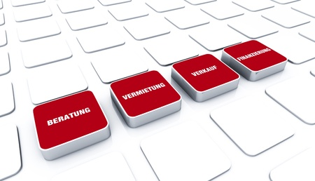 customercare: 3D red pads - Rental Sales 5 Stock Photo