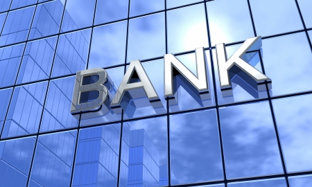 owe: Bank Concept Silver Blue Stock Photo