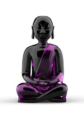 stone buddha: Buddha statue made of glass - Black Pink Stock Photo