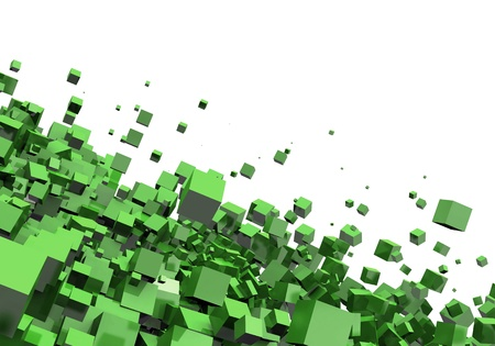 3D - Background - Flying Cubes Green Stock Photo - 15778682
