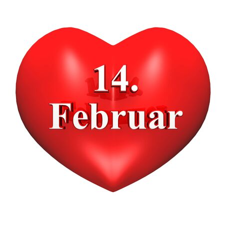 3D red heart - 14 Ferbruar is Valentine s Day photo