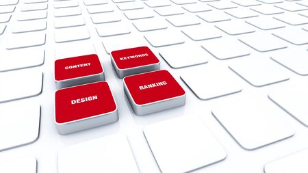 3D Red Pads - Design Content Keywords Ranking Stock Photo - 15778637