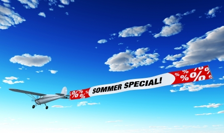 book shop: Airplane Advertising - Summer Special Stock Photo