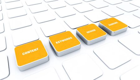 management system: 3D pads Orange - Design Content Keywords Ranking Stock Photo