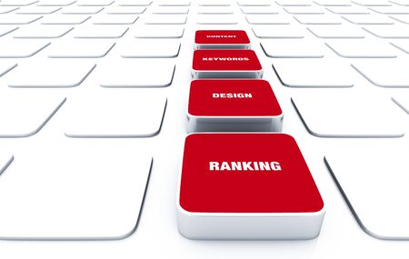 3D Red Pads - Design Content Keywords Ranking Stock Photo - 15888173