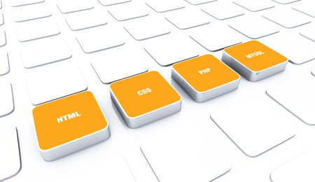 mysql: 3D pads Orange - HTML CSS PHP MYSQL  Stock Photo