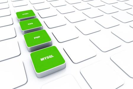 3D green pads - PHP MYSQL HTML CSS Stock Photo - 16008515