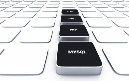 3D Pads Black - PHP MYSQL HTML CSS 4 Stock Photo - 16135403