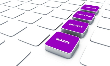 customercare: Cuboid concept violet - consulting expertise service quality