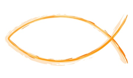 jesus fish: AquaralI - Ichthys Orange - Abstract symbol fish